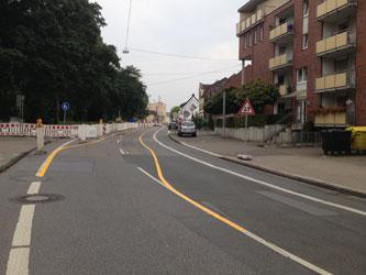 Baustellenanfang mit unklarer Verkehrsführung