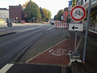 Radwegsperrung ohne Leitbake