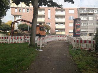 Verbindungsweg endet im Baustellenbereich