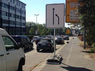 Radweg blockiert